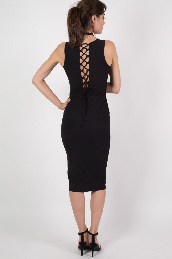 2682275dda4b This sleeveless crepe bodycon midi dress features a plunging v-front  neckline