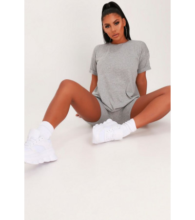 I Saw it First - Ladies Grey Oversized T-Shirt And Cycling Short Loungewear Set