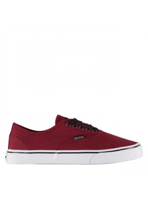Sunset Lace Mens Canvas Shoes Burgundy White 7