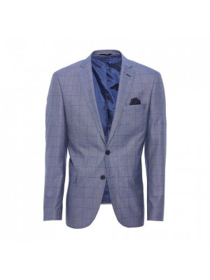 Light Blue Grid Check Blazer