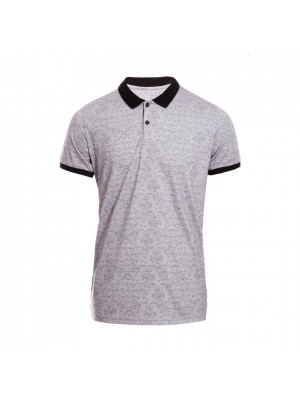 Spiral Print Polo Shirt with Contrast Collar and Sleeves in Grey