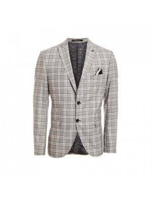 Block Check Blazer in Grey