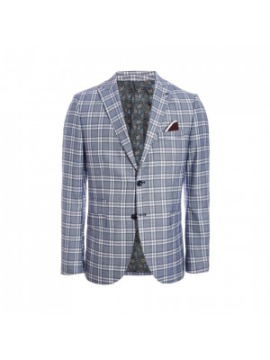 Block Check Blazer in Blue