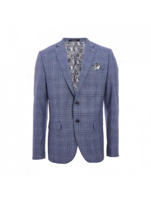 Window Pane Check Blazer in Mid Blue