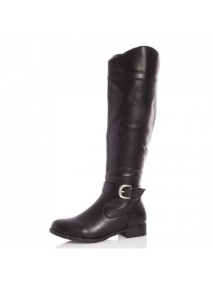 Black Faux Leather Western Knee Boot
