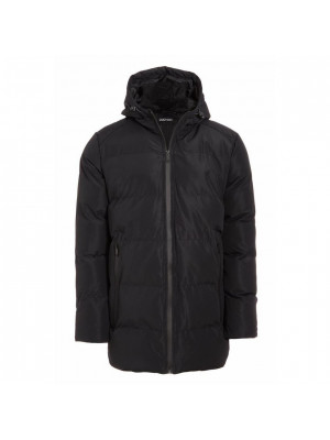 Long Lined Hooded Parka with Matte Finish in Black