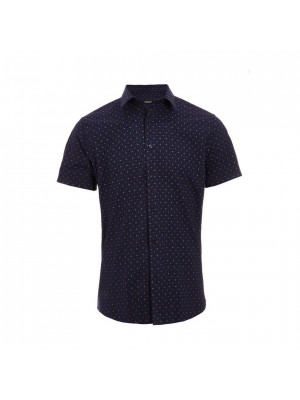 Short Sleeve Geometric Print Shirt in Navy
