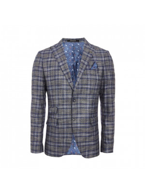 Grid Check Blazer in Grey