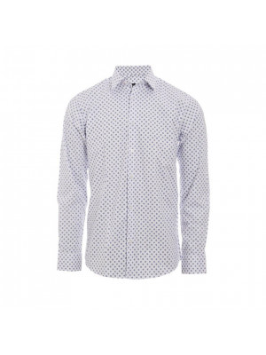 Long Sleeve Slim fit Geometric Shirt in White