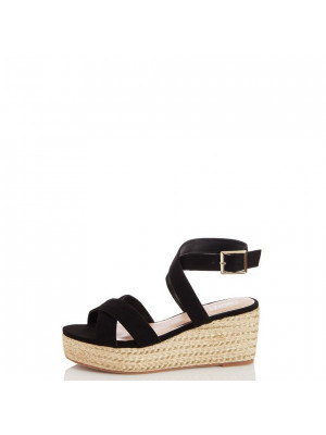 Black Woven Wedges