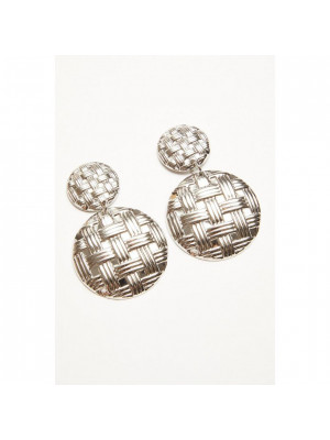 Silver Circle Woven Earrings