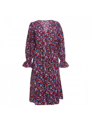 Multicoloured Floral Wrap Midi Dress