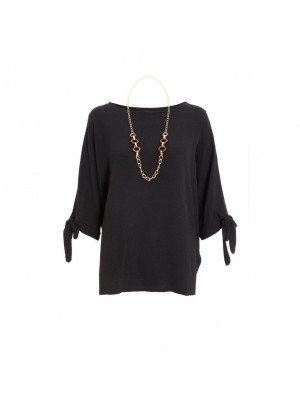 Black Necklace Batwing Top