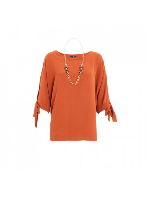 Rust Necklace Batwing Top