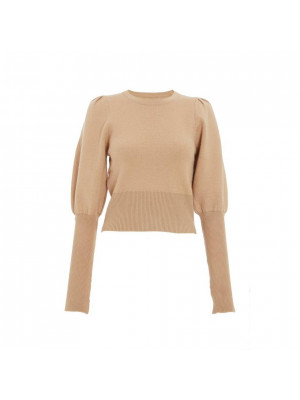 Stone Knitted Puff Sleeve Jumper