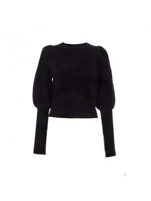 Black Knitted Puff Sleeve Jumper