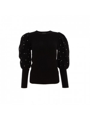 Black Knitted Pearl Puff Sleeve Jumper