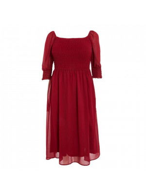 Curve Berry Chiffon Midi Dress
