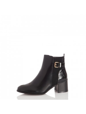 Black Buckle Detail Ankle Boot