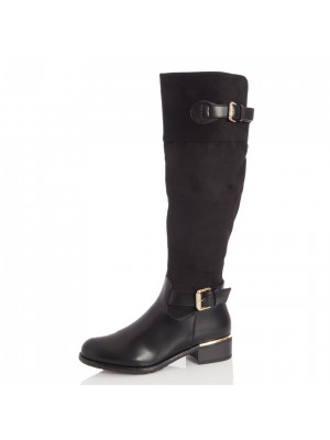 Black Buckle Detail Riding Boots