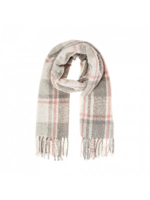 Grey & Pink Check Knitted Scarf