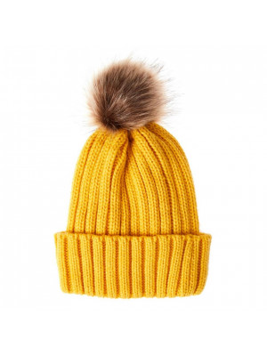 Mustard Chunky Knitted Pom Hat