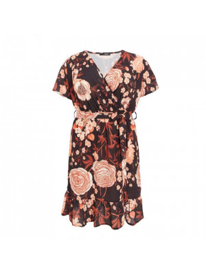 Curve Rust Floral Wrap Midi Dress