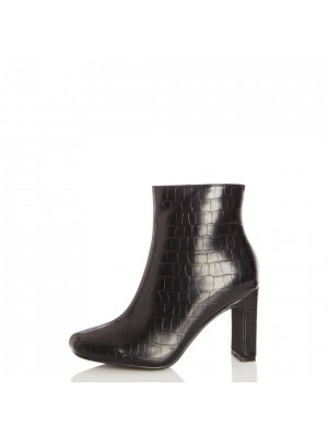 Black Crocodile Heeled Ankle Boot