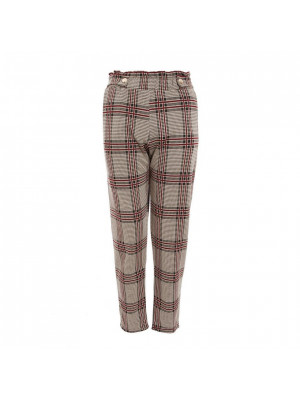 Berry Check Button Detail Trousers