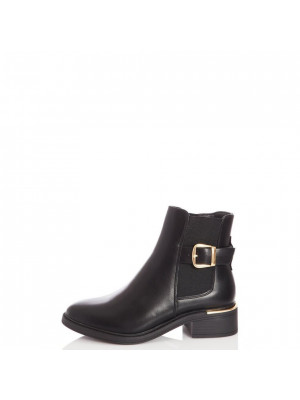 Wide Fit Black Buckle Chelsea Boot