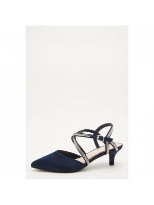 Wide Fit Navy Faux Suede Courts