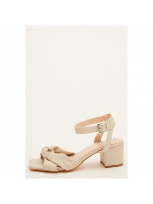 Wide Fit Nude Knot Heeled Sandals