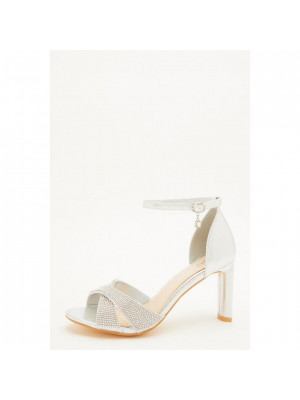 Wide Fit Silver Diamante Heeled Sandal