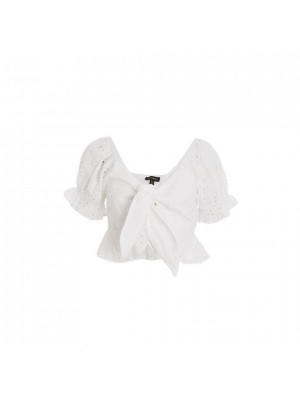 White Broderie Frill Crop Top