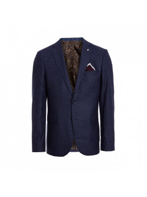 Navy Plain Textured Blazer