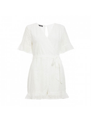 Sam Faiers White Broderie Wrap Playsuit