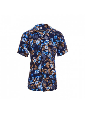 Short Sleeve Revere Collar Flower Print Shirt