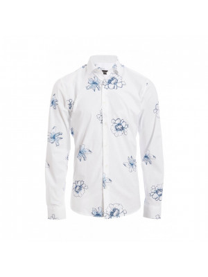 White Long Sleeve Flower Print Shirt