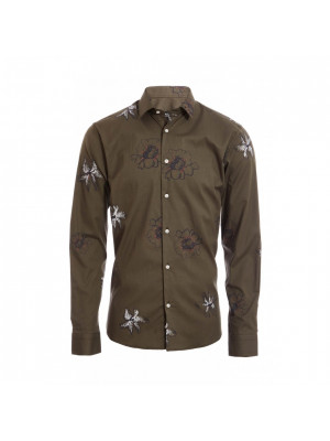 Khaki Long Sleeve Flower Print Shirt
