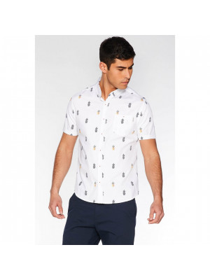 White Slim Fit Pineapple Print Shirt