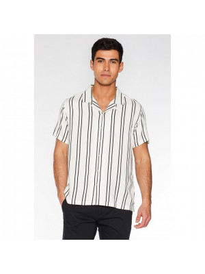 Ecru Striped Revere Collar Shirt