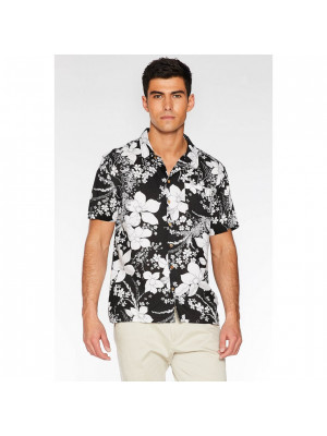 Black Revere Collar Floral Shirt