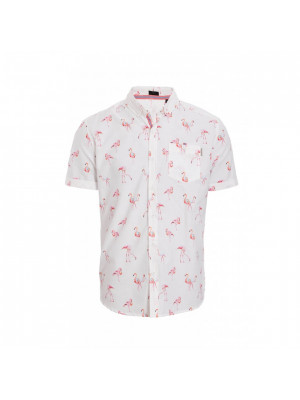White Slim Fit Flamingo Print Shirt