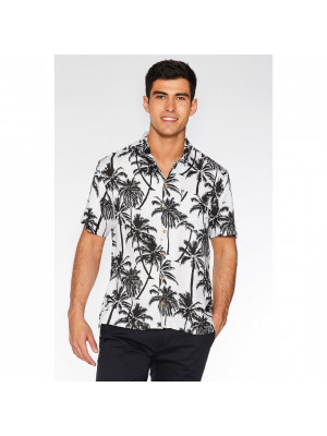 White Revere Collar Palm Print Shirt