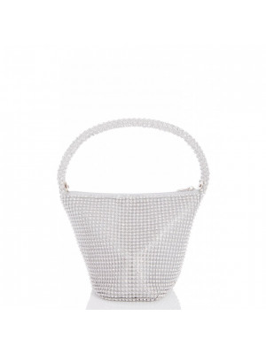 Silver Diamante Pouch Bag