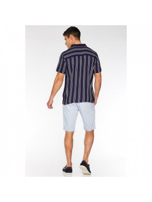 Navy Striped Revere Collar Shirt