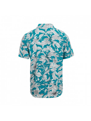 Turquoise Leaf Print Revere Collar Shirt