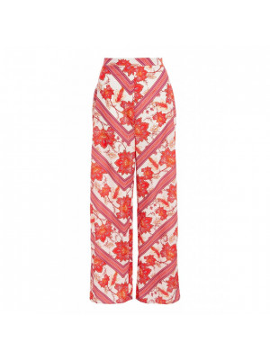 White Pink and Red High Waist Palazzo Trousers