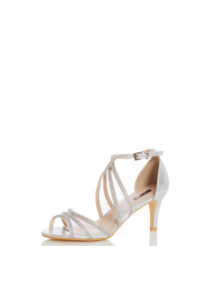 Wide Fit Silver Satin Diamante Mesh Low Heel Sandals