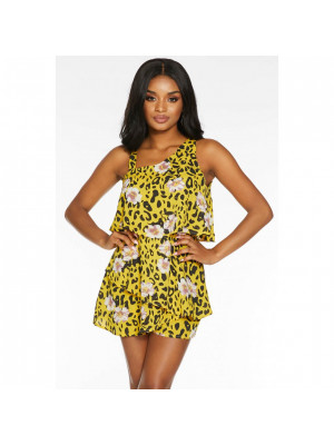 Petite Yellow Leopard And Floral Print Playsuit
